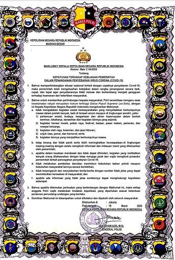Maklumat Kapolri Larang Karamaian, Panic Buying & Sebar Hoax