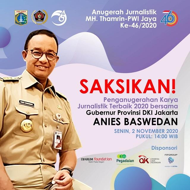 Anies Baswedan Akan Hadir Dalam Acara Virtual  Anugerah Jurnalistik MHT 2020