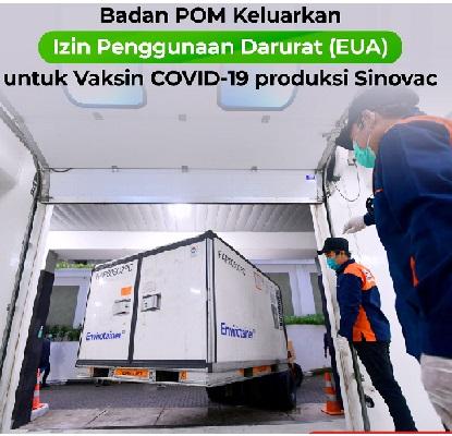 Melonjak Lagi, BPOM Setuju Vaksin Sinovac,Total Positif 846.765 Sembuh 695.807 Meninggal 24.645