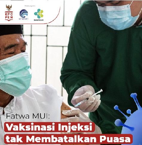 Fatwa MUI : Vaksinasi Tidak Batalkan Puasa,Total Positif 1.443.853 Sembuh 1.272.958 Meninggal 39.142