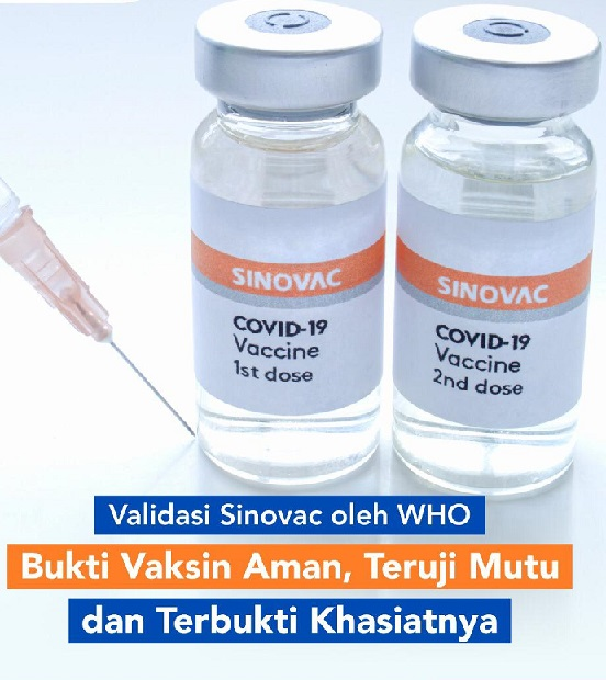 Vaksinasi Cara Efektif Kendalikan Pandemi Covid, Positif 1.877.050 Sembuh 1.723.253 Meninggal 52.162