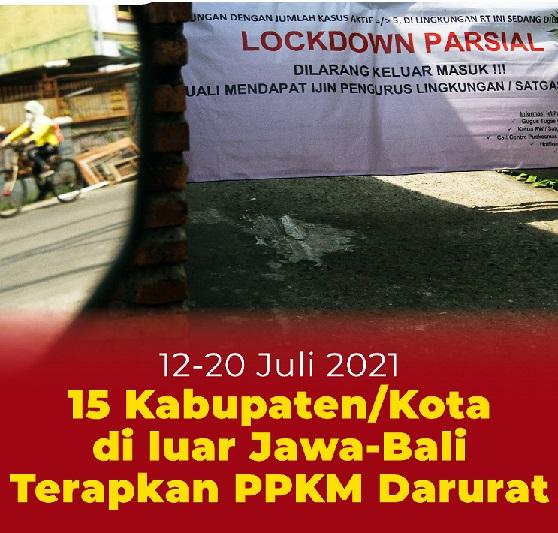 15 Kabupaten/Kota Luar Jawa-Bali PPKM Darurat,Positif 2.527.203 Sembuh 2.084.724 Meninggal 66.464