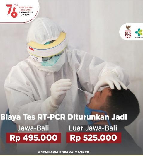 Akhirnya Kemenkes Turunkan Biaya Tes PCR,Positif 3.892.479 Sembuh 3.414.109 Meninggal 120.013