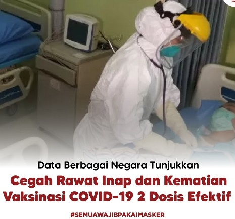 Vaksinasi Pulihkan Kesehatan & Ekonomi,  Positif 3.989.060 Sembuh 3.571.082 Meninggal 127.214
