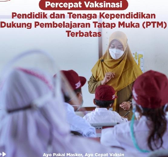Dukung PTM, Pemda Diminta Percepat vaksinasi, Positif 4.188.529 Sembuh 3.983.140 Meninggal 140.323