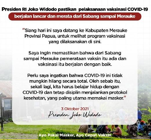 Jokowi Pastikan Vaksinasi Merata Sabang-Merauke,Positif 4.220.206 Sembuh 4.046.891 Meninggal 142.261