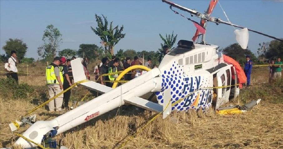 Helikopter Jatuh dekat Bandara Lombok, 3 Turis Luka-luka